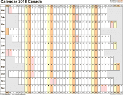 Template 4: 2018 Calendar Canada for Excel, linear (days horizontally and aligned, by weekday), 1 page, landscape orientation