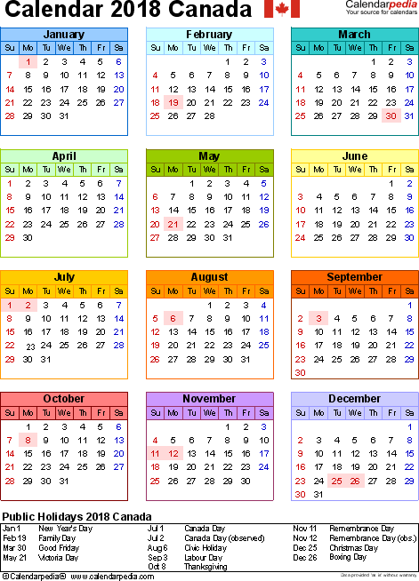 Template 15: 2018 Calendar Canada for Word, year at a glance, 1 page, in colour, portrait orientation