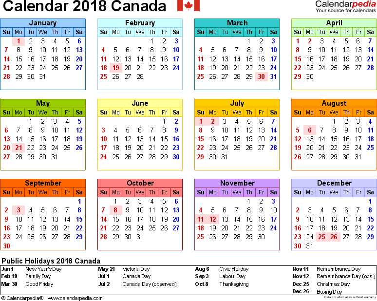 Template 8: 2018 Calendar Canada for Excel, year at a glance, 1 page, in colour, landscape orientation
