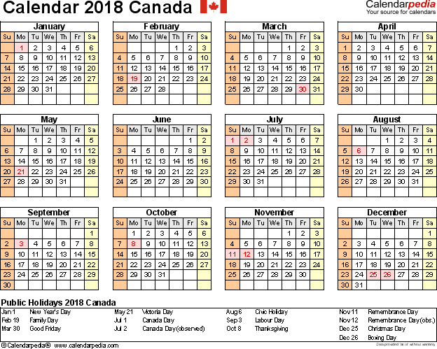Template 9: 2018 Calendar Canada for Excel, year at a glance, 1 page, landscape orientation