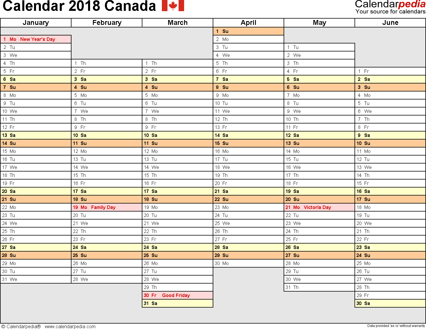 Template 4: 2018 Calendar Canada for Word, months horizontally, 2 pages, days of the week in line/linear, landscape orientation