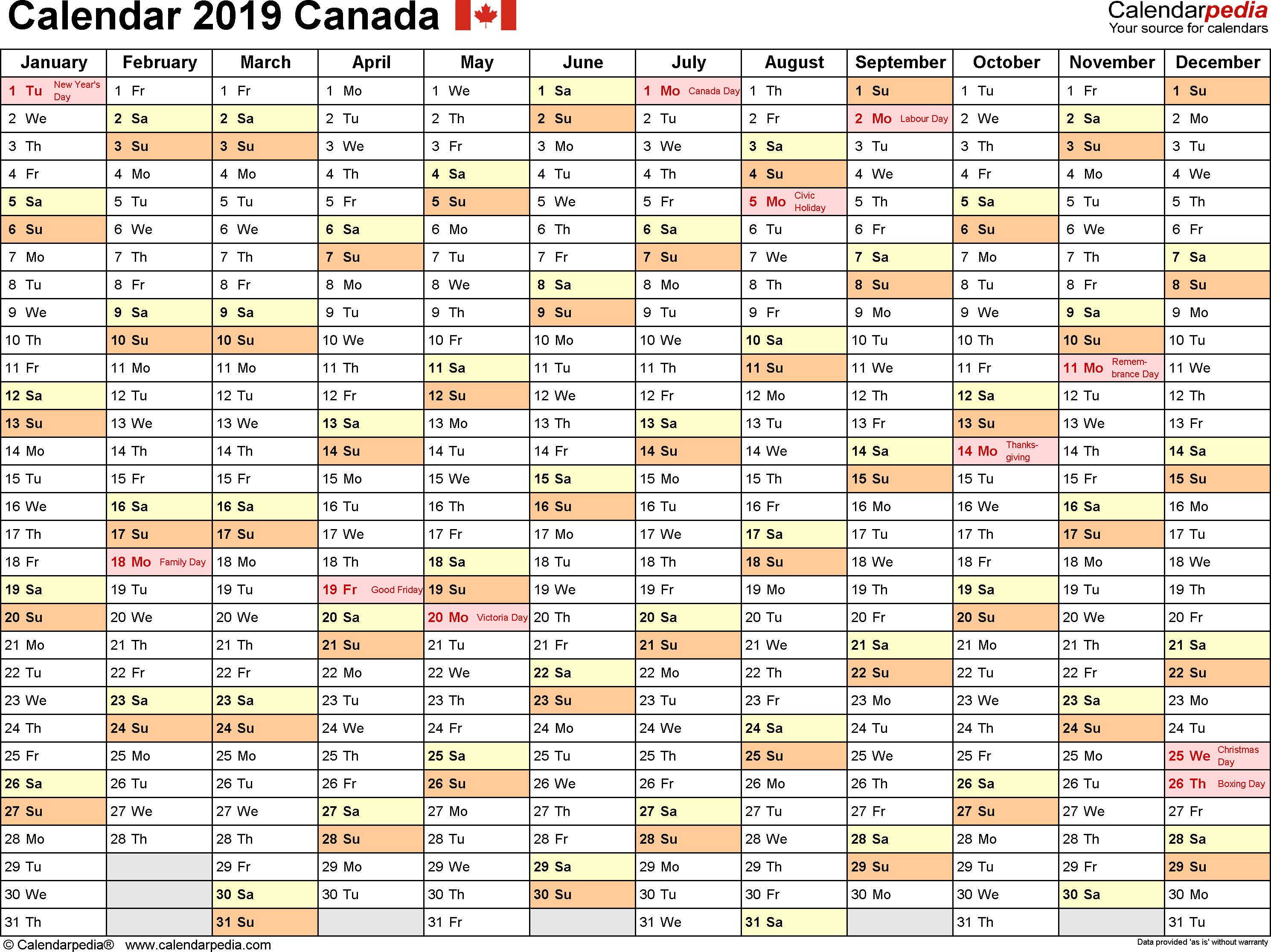 Download Template 2: Calendar 2019 Canada in PDF format, landscape, 1 page