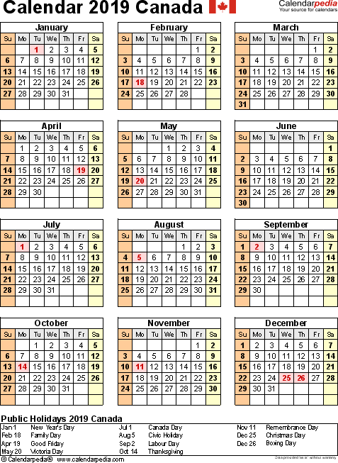 Template 11: 2019 Calendar Canada for Excel, year at a glance, 1 page, portrait orientation