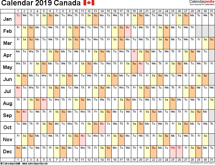 Template 6: 2019 Calendar Canada for Word, linear (days horizontally), 1 page, landscape orientation