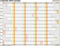 Template 4: 2019 Calendar Canada for Excel, linear (days horizontally and aligned, by weekday), 1 page, landscape orientation
