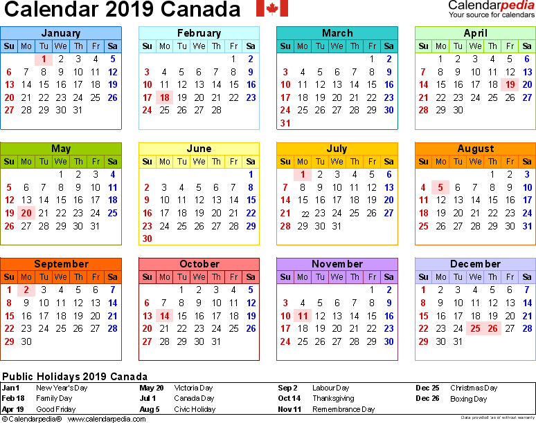 Template 8: 2019 Calendar Canada for Excel, year at a glance, 1 page, in colour, landscape orientation