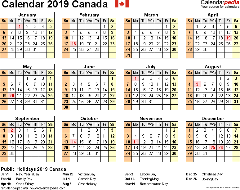 Template 9: 2019 Calendar Canada for Excel, year at a glance, 1 page, landscape orientation