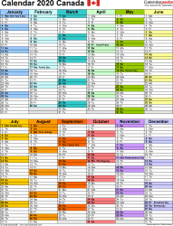 Download Download PDF template for 2020 calendar template 10: two half-year blocks on one page, multi-coloured