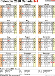 Template 11: 2020 Calendar Canada for Excel, year at a glance, 1 page, portrait orientation