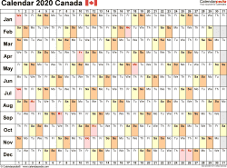 Template 6: 2020 Calendar Canada for Excel, linear (days horizontally), 1 page, landscape orientation