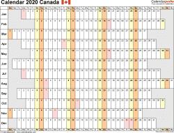 Template 7: 2020 Calendar Canada for Excel, linear (days horizontally and aligned, by weekday), 1 page, landscape orientation