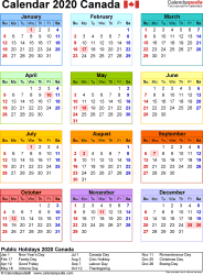 Template 10: 2020 Calendar Canada for Excel, year at a glance, 1 page, in colour, portrait orientation
