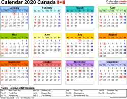 Download Template 8: Calendar 2020 Canada in PDF format, landscape, 1 page, year at a glance, multi-coloured