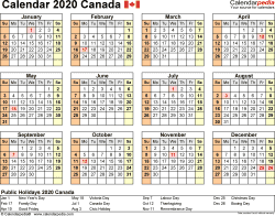 Template 9: 2020 Calendar Canada for Excel, year at a glance, 1 page, landscape orientation