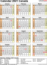 Template 17: 2021 Calendar Canada for Excel, year at a glance, 1 page, portrait orientation
