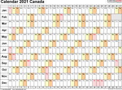 Template 6: 2021 Calendar Canada for Excel, linear (days horizontally), 1 page, landscape orientation