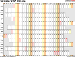 Template 4: 2021 Calendar Canada for Excel, linear (days horizontally and aligned, by weekday), 1 page, landscape orientation