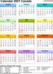 Template 16: 2021 Calendar Canada for Excel, year at a glance, 1 page, in colour, portrait orientation