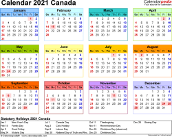 Template 8: 2021 Calendar Canada for Excel, year at a glance, 1 page, in colour, landscape orientation