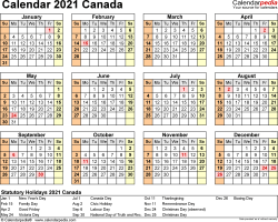 Template 9: 2021 Calendar Canada for Excel, year at a glance, 1 page, landscape orientation
