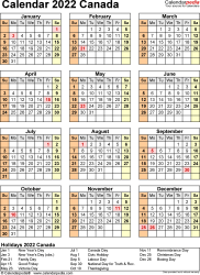 Download Template 18: Calendar 2022 Canada for Microsoft Excel (.xlsx file), portrait, 1 page, year at a glance