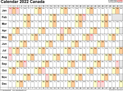 Template 3: 2022 Calendar Canada for Excel, linear (days horizontally), 1 page, landscape orientation