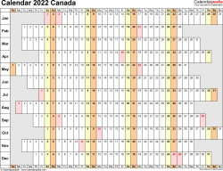 Template 7: 2022 Calendar Canada for PDF, linear (days horizontally and aligned, by weekday), 1 page, landscape orientation
