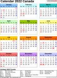 Template 10: 2022 Calendar Canada for Excel, year at a glance, 1 page, in colour, portrait orientation