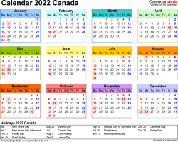 Download Template 8: Calendar 2022 Canada for Microsoft Excel (.xlsx file), landscape, 1 page, year at a glance, multi-coloured