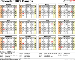 Template 9: 2022 Calendar Canada for Excel, year at a glance, 1 page, landscape orientation