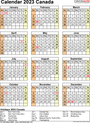 Template 17: 2023 Calendar Canada for PDF, year at a glance, 1 page, portrait orientation