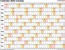 Template 6: 2023 Calendar Canada for PDF, linear (days horizontally), 1 page, landscape orientation