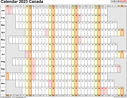 Template 7: 2023 Calendar Canada for PDF, linear (days horizontally and aligned, by weekday), 1 page, landscape orientation