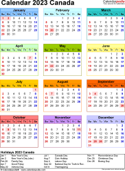Template 16: 2023 Calendar Canada for PDF, year at a glance, 1 page, in colour, portrait orientation