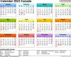 Template 8: 2023 Calendar Canada for PDF, year at a glance, 1 page, in colour, landscape orientation