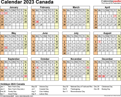 Template 9: 2023 Calendar Canada for PDF, year at a glance, 1 page, landscape orientation