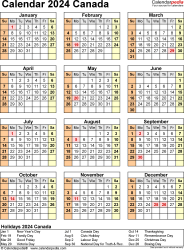 Template 17: 2024 Calendar Canada for PDF, year at a glance, 1 page, portrait orientation
