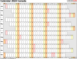 Template 7: 2024 Calendar Canada for PDF, linear (days horizontally and aligned, by weekday), 1 page, landscape orientation