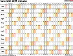 Template 6: 2024 Calendar Canada for PDF, linear (days horizontally), 1 page, landscape orientation