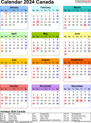 Template 16: 2024 Calendar Canada for PDF, year at a glance, 1 page, in colour, portrait orientation
