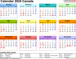 Template 8: 2024 Calendar Canada for PDF, year at a glance, 1 page, in colour, landscape orientation