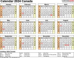 Template 9: 2024 Calendar Canada for PDF, year at a glance, 1 page, landscape orientation