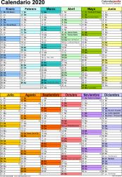 Plantilla 10: calendario 2020 para España en formatos Word, Excel y PDF, vertical, 1 página, dos bloques semestrales, multicolor