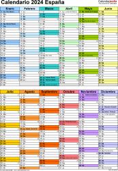 Plantilla 10: calendario 2024 para España en formatos Word, Excel y PDF, vertical, 1 página, dos bloques semestrales, multicolor