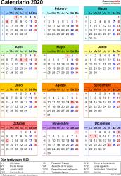 Plantilla 16: calendario 2020 para España en formatos Word, Excel y PDF, vertical, 1 página, año en un vistazo, multicolor