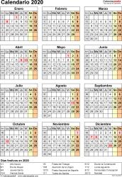 Plantilla 17: calendario 2020 para España en formatos Word, Excel y PDF, vertical, 1 página, año en un vistazo