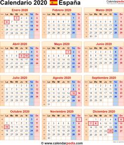 Calendario 2020 España como una imagen en formato PNG