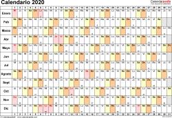 Plantilla 6: calendario 2020 para España en formatos Word, Excel y PDF, horizontal, 1 página, lineal