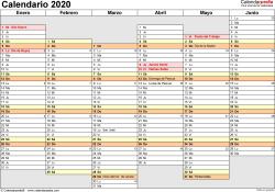 Plantilla 4: calendario 2020 para España en formatos Word, Excel y PDF, horizontal, 2 páginas, días alineados, medio año por página