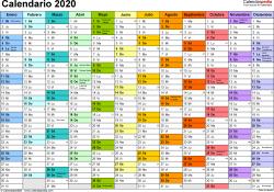 Plantilla 1: calendario 2020 para España en formatos Word, Excel y PDF, horizontal, 1 página, multicolor